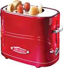 Nostalgia HDT600RETRORED Pop-Up 2 Hot Dog and Bun Toaster, With Mini Tongs, Works With Chicken, Turkey, Veggie Sausages and Brats, Pack of 1, Retro Red
