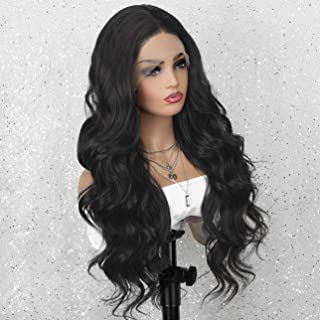 K'ryssma Dark Brown Lace Front Wig with Middle Part Wavy Synthetic Wig Glueless Long Brown Wigs for Women
