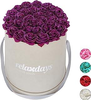 Relaxdays Boîte Ronde, 34, Bac à Roses Gris, conservable 10 Ans, Idée Cadeau, Violet, Carton, Tissu, PP, Lilas, 33 x 32 x ...