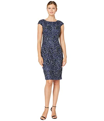 Alex Evenings Midi Embroidered Dress with Sequin Detail (Navy) Women