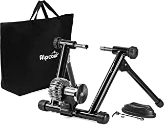 Alpcour Fluid Bike Trainer Stand � Portable Stainless Steel Indoor Trainer w/Fluid Flywheel, Noise Reduction, Progressive Resistance, Dual-Lock System � Stationary Exercise for Road & Mountain Bikes