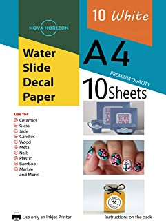 Nova Horizon Waterslide Decal Paper for Inkjet Printer, 10 White Sheets, A4 Size Water Slide Transfer Printable Paper