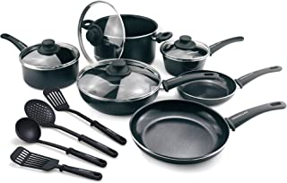 GreenLife CW001923-004 Diamond Nonstick Dishwasher Safe, 14-Piece, Black