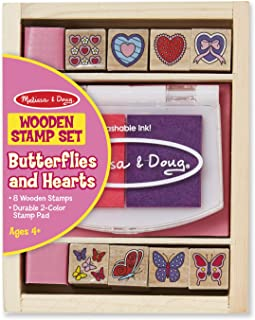 Melissa & Doug Friendship Stamp Set, Rainbow 6 Color Stamp Pad, and Butterfly And Hearts Stamp Set Bundle