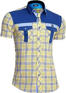 D&R Fashion Mondo Mens Short Sleeve Linen Shirt Checkered Cotton Front Pockets