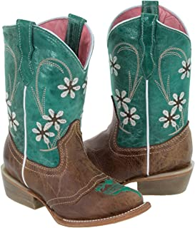 Girls Kids Teal Light Brown Floral Embroidered Cowgirl Boots Snip 12 Toddler