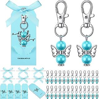 108 قطعة ملاك فيفور سلسلة مفاتيح مجموعة تصميم ملاك سلسلة مفاتيح مفضلة معدنية الملاك قلادة لحفل استقبال المولود، زفاف