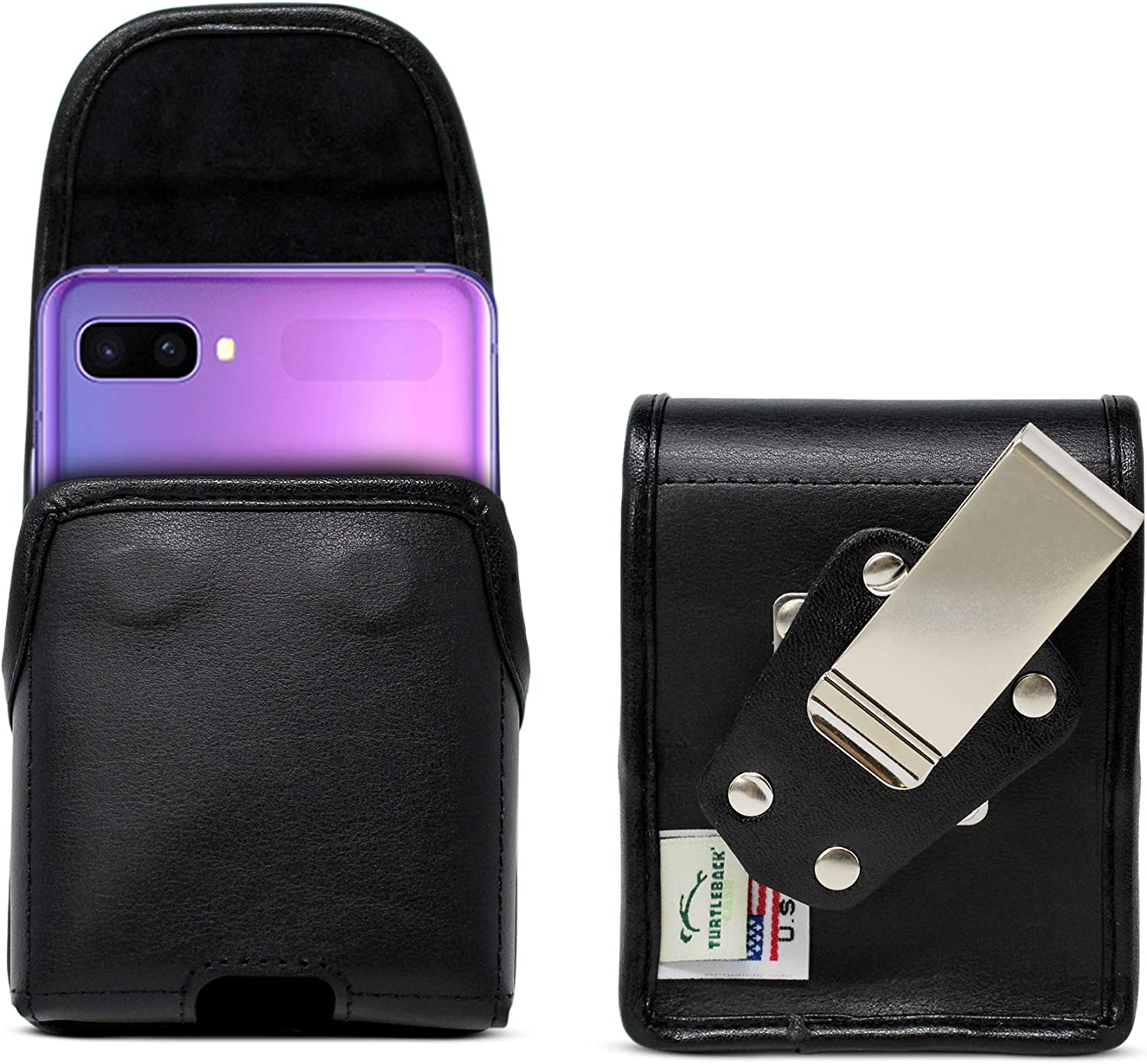 Turtleback Belt Case Designed for Samsung Galaxy Z Flip (2020) 5G (2019) Vertical Holster Black Leather Pouch with Heavy Duty Rotating Belt Clip, Made in USA