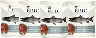 Epic Jerky Bites, 100% Wild Caught, Maple Glazed & Smoked, Alaskan Salmon, Coconut Oil 2.5 oz. (4 Count)