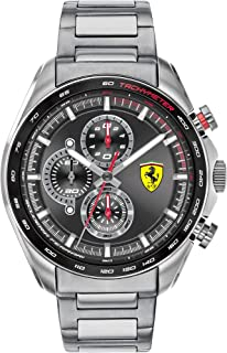Ferrari Men's SPEEDRACER Quartz Watch with Stainless Steel Strap, Silver, 22 (Model: 0830652)