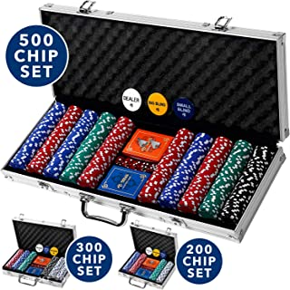 Professional 200, 300 or 500 Chips (11.5g) Poker Set with Case by Rally & Roar – 3..