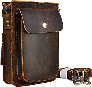 Mens Genuine Leather Fanny Messenger Shoulder Satchel Waist Bag Pack (Dark Brown)