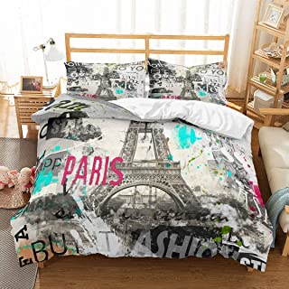 PATATINO MIO Retro Eiffel Tower Bedding Set Queen for Teens Vintage Fashion Paris Gray Duvet Cover Set for Boys,Girls and Adults,3 Piece with 2 Pillow Sham,No Comforter