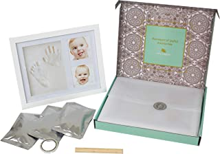 Very Pepper Clay Keepsake Handprint&Footprint Photo Frame Kit-Unique Unisex Newborn Baby Shower Gift Ideas for New Parents. Mom's Memory Sets for Infant Boys&Girls. Decoration for Child Nursery Room