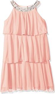 فستان ماي ميشيل للفتيات ذو طبقات كبيرة مع رقبة مرصعة بالجواهر