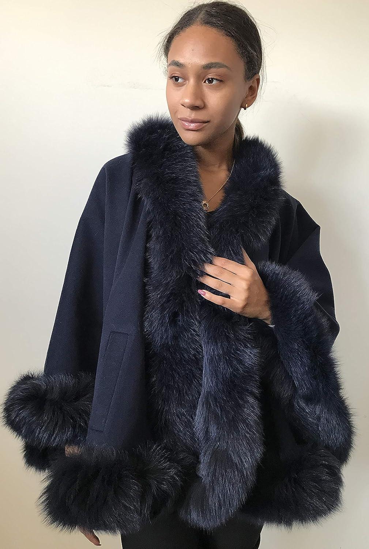 Poncho Cape Coat gift cashmere fur Ranking TOP6 fox trim