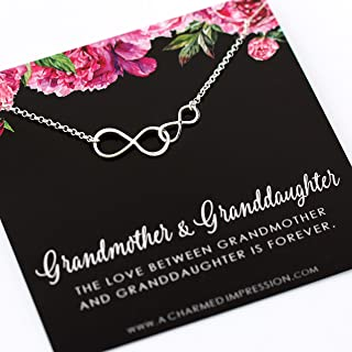 Grandmother Granddaughter Gifts • Sterling Silver • Grandma Granddaughter Necklace • Gift for Grandma Jewelry • Thoughtful Gift from Granddaughter • Unique Birthday Gifts for Grandma • Mother's Day