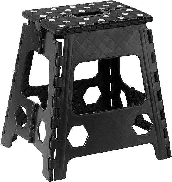 Superior Performance Folding Step Stool 15 Inch Anti Slip Dots Black