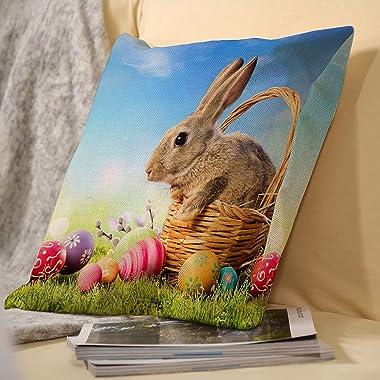 VEIMER Bunny (5) FancyCountry FlowerAnd BirdLinen Throw Pillowcase Sofa Pillow, Cushion Cover Both Sides Print 18x18 inches