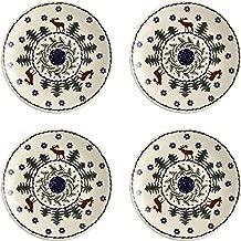 Polish Pottery Christmas Tree Reindeer Moose Pattern Salad Plates, 7-Inch, Set of 4