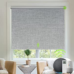 Yoolax Free-Stop Blackout Roller Shade Fabric Material Motorized Blind Cordless Remote Control Room Darkening Privacy Window Blind with Valance (Smoky Gray)