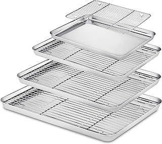 Velaze Plaque et Grille, Set Cuisine des Plaques à Pâtisserie Inoxydable, 8 pcs Rectangulaire, Idéal pour Pâtisserie et Re...