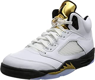NIKE Mens AIR Jordan 5 Retro, White/Black-MTLC Gold Coin, 7.5