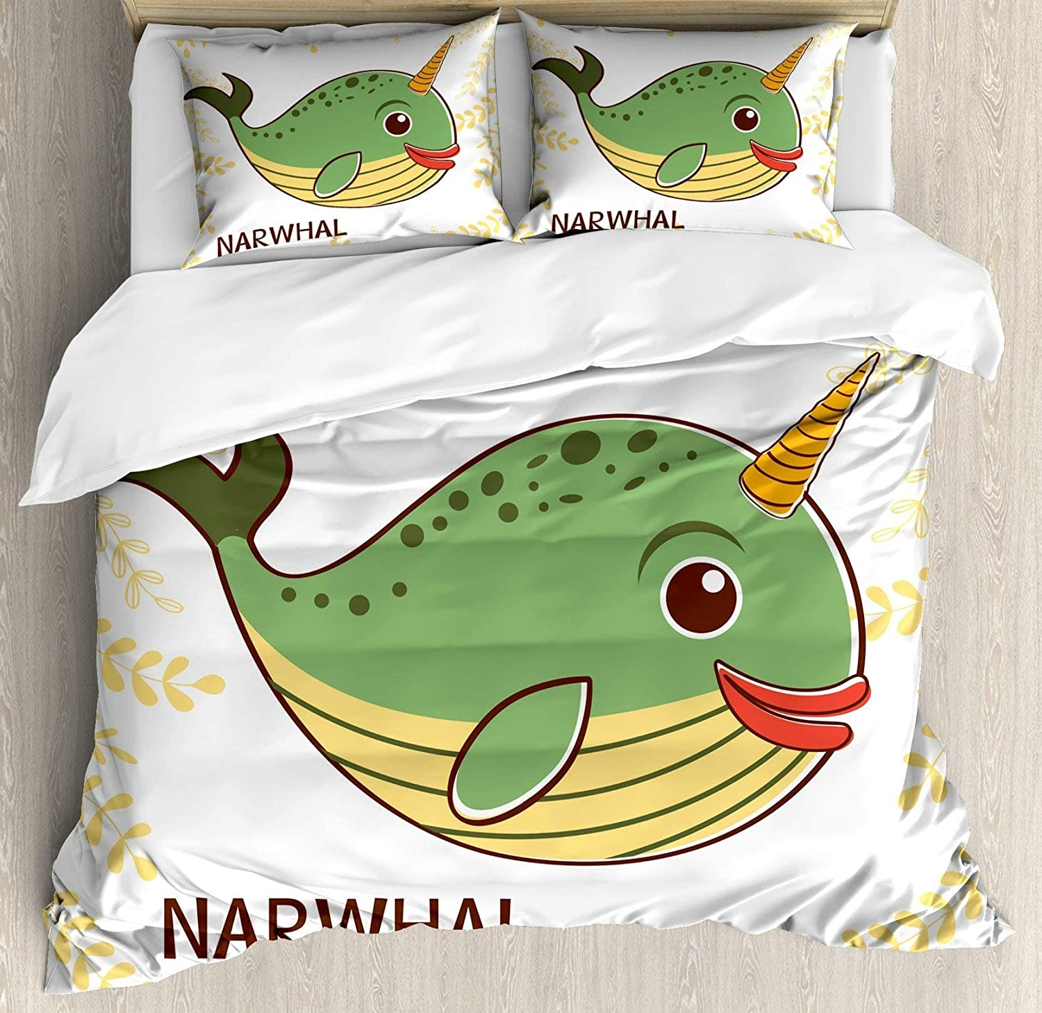 USOPHIA Narwhal 4 Pieces Bed Sheets Set Twin Size, Aquatic Mammal with colorful Composition Foliage Background Cartoon Floral Duvet Cover Set, Fern Green orange Yellow