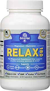 BioTree Labs Relax 180 – Magnesium and Potassium Supplement with Electrolytes That Relieves Muscle Pain, Spasms, and Tension and Provides Stress Relief