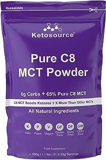 Puur C8 MCT poeder (500g zakje) | 0g netto koolhydraten | Hoge 65% Pure C8 MCT-oliebelasting | Alle natuurlijke ingrediënt...