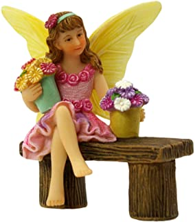 PRETMANNS Fairy Garden Fairies Accessories – Fairy Figurine Isabella for a Miniature Garden – Sitting Fairy with Buckets o...