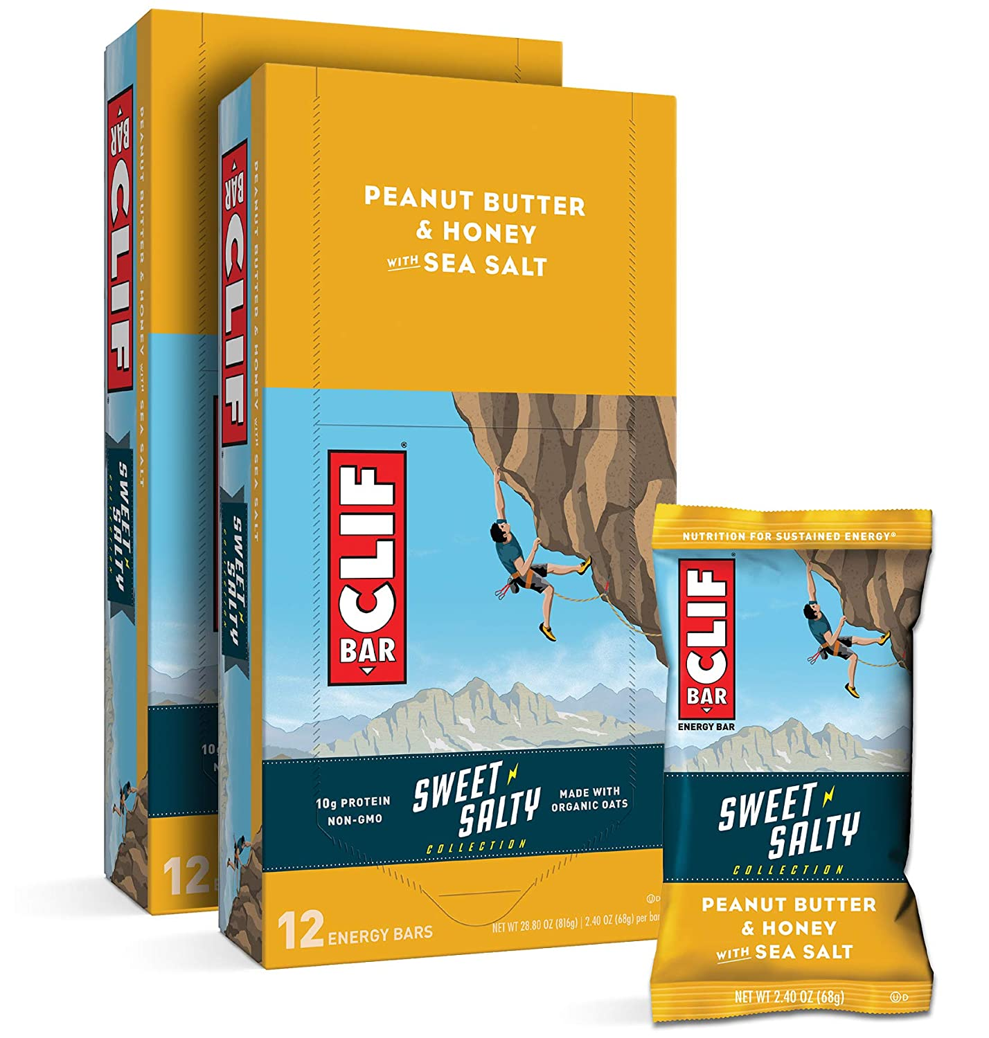CLIF BAR - Sweet Salty Lowest price challenge Energy Sale special price wit Honey Peanut Butter Bars