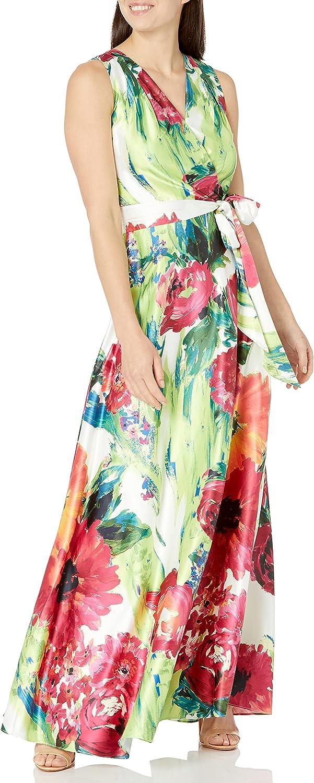 Tahari ASL Women's Sleeveless Surplus Tie Waist Floral Print Gown