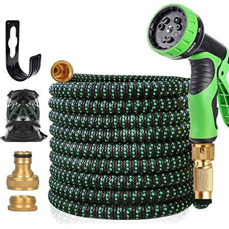 """50FT Expandable Garden Hose, Upgraded Lightweight Hose Pipe Made in Double Layers of Latex, 3/4""""&1/2"""" Solid Brass Connectors, Durable 3750D Weave, Flexible Water Hose with 9 Modes Spray Gun…"""