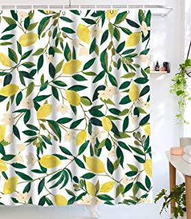 Lifeel Lemon Shower Curtains, Allover Fruits Shower Curtain Green Leaves Plant Design Waterproof Fabric Bathroom Shower Curtain Set with 12 Hooks, Green Yellow 72
