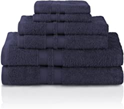 Superior Egyptian Cotton Towels, Washcloths, Hand, Bath, Navy Blue, 6 Piece