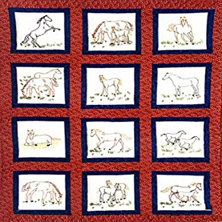 "Jack Dempsey Themed Stamped White Quilt Blocks 9""X9"" 12/Pkg, Horses"