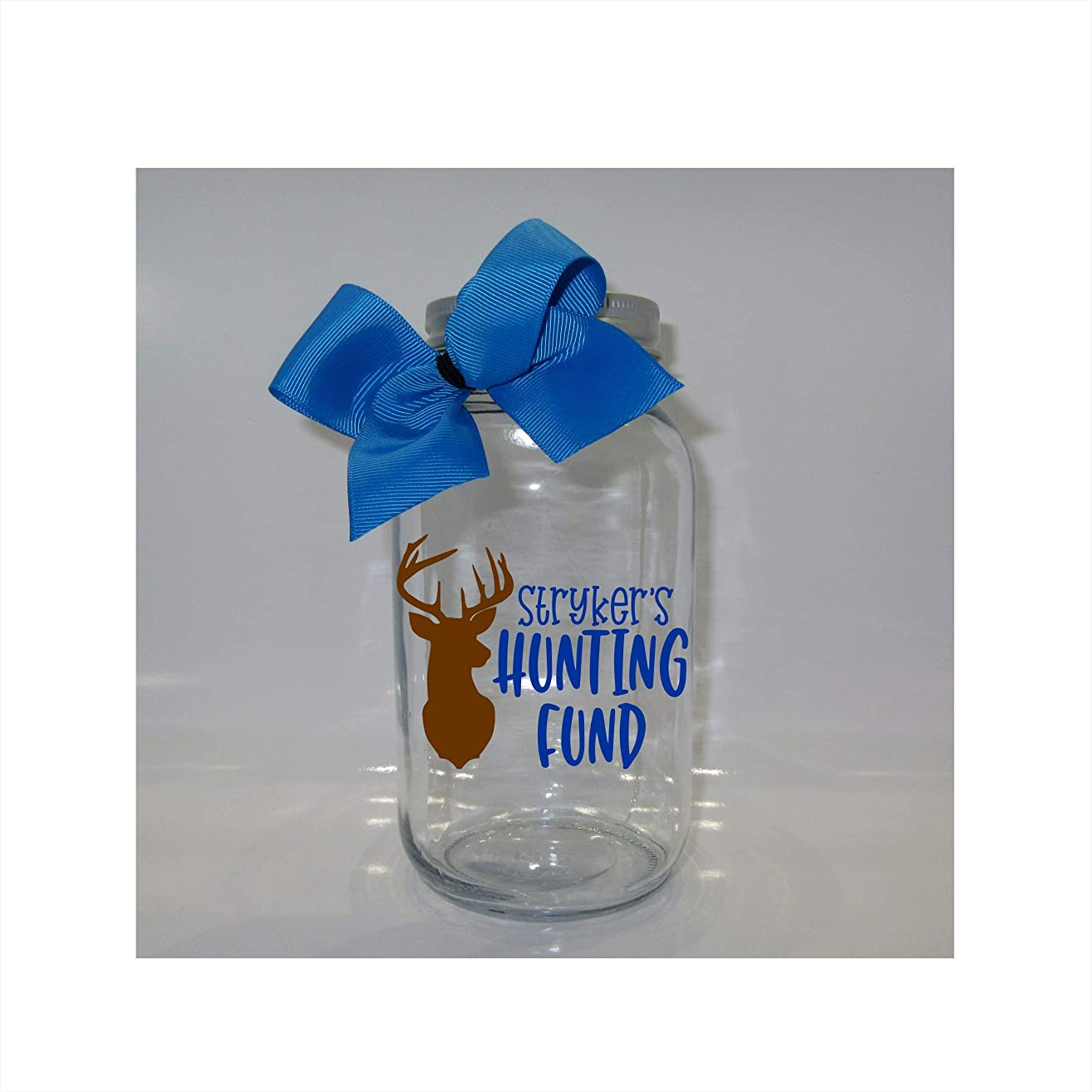 Personalized Hunting Fund Mason Jar Bank - Coin Slot Lid - Available in 3 Sizes