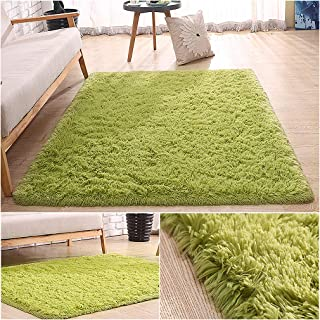 Coofig Super Soft Indoor Modern Thickened Washing Silky Smooth Fur Rugs Anti-Skid Shaggy Rugs Dining Room or Bedroom Carpet Floor Mat 4- Feet by 5- Feet (Green) …