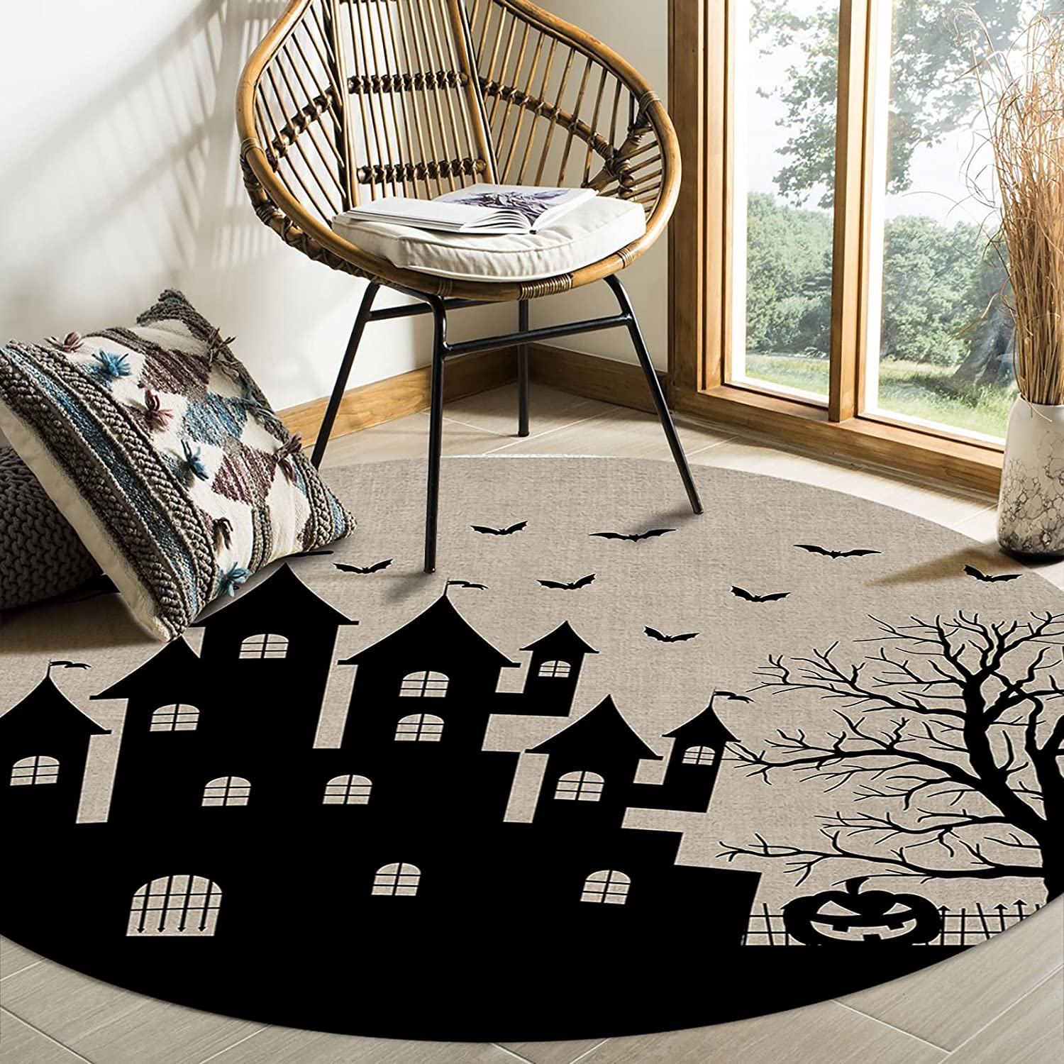 MuswannaA Round Area Rug- 6ft Halloween Flying Max 65% OFF Free shipping anywhere in the nation Happy Wi Diameter