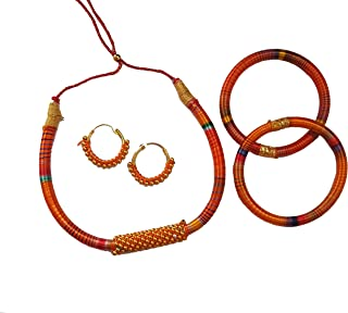 jaipri Orange Colour Silk (Resham) Handmade Necklace with Earring and Bangles for Women & Girls (Mehandi/Haldi/Bride)