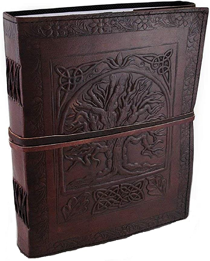 (brown) - Large Tree of Life Leather Blank Book