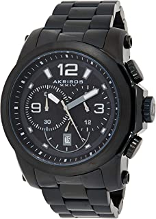 Akribos XXIV Men's Black Chronograph Watch - Beveled Bezel - Luminous Hands and Markers - Stainless Steel Bracelet - AK631