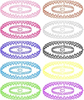 30PC Choker Necklace Bracelet Ring Set Colorful Mix Stretch Elastic Jewelry Girls Kids Gift