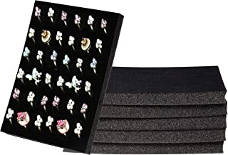 Ring Pad - 6-Pack Velvet Ring Display Tray, Ring Box Insert, Case, Ring Foam, Jewelry Tray Insert, for Accessory Storage, Show, Retail, Shop, Home, Counter Top, 36 Slot, Black, 7.5 x 5.5 x 0.5 Inches