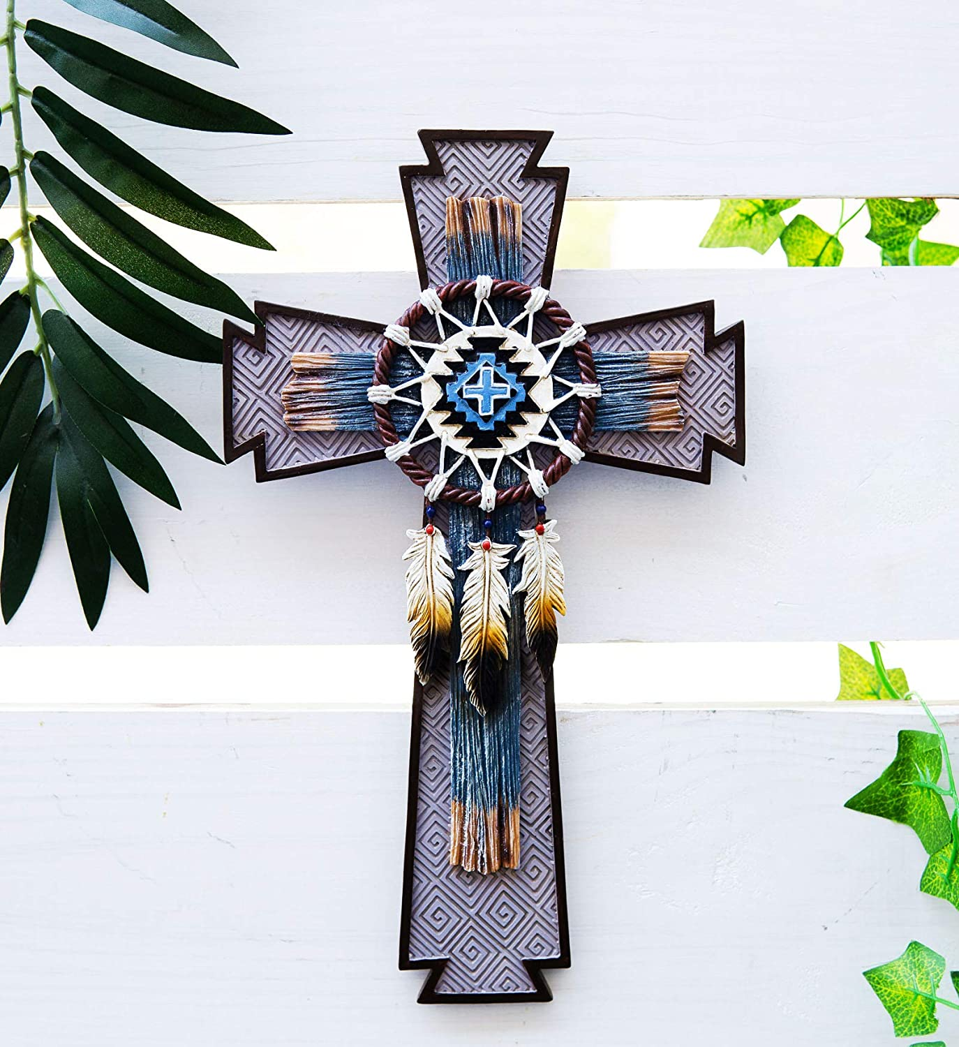 Ebros Colorful Rustic Southwest Native Indian Navajo Vector Eagle Feathers with Web Dream Catcher Turquoise Wall Cross Decor Plaque 12.75