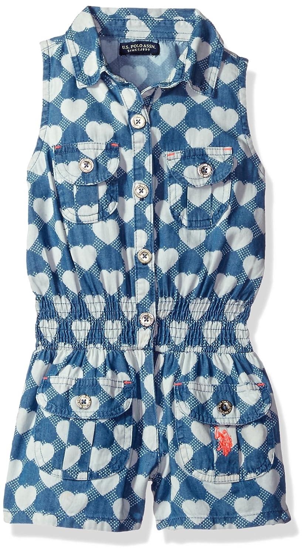 U.S Girls Sleeveless Heart Print Denim Romper Polo Assn