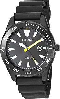 Citizen Men's Stainless Steel Japanese Quartz Polyurethane Strap, Black, 22 Casual Watch (Model: BI1045-13E)