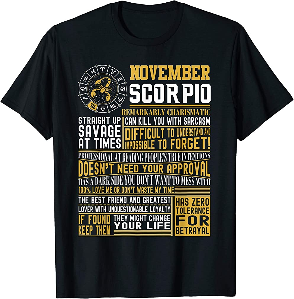 Best Born In November Scorpio Facts Shirts For Mens Womens