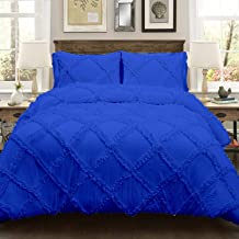 5 Piece Diamond Ruffle Duvet Cover with Zipper & Corner Ties 500% Egyptian Cotton Premium Hotel Class Decorative Bedding (Single, Royal Blue)